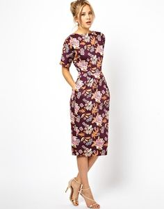 Image 1 of ASOS Wiggle Dress In Floral Print