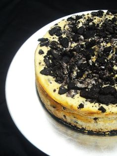 Philly Oreo Cheesecake -- reduce sugar to ~2/3 C, and bake for ~50 min instead of 60. Best with homemade Oreos.