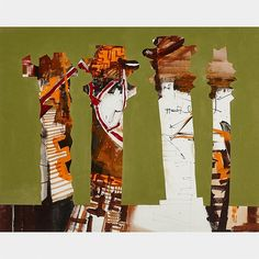 "JACK LEONARD SHADBOLT, R.C.A.SPACE BETWEEN COLUMNScollagesigned and dated '69 24.5 ins x 31 ins; 61 cms x 76.2 cms Provenance:Private Collection, TorontoLiterature:Scott Watson, Jack Shadbolt, Douglas & McIntyre, Vancouver / Toronto, 1990, page 107. Patricia Ainslie, Correspondences, Jack Shadbolt, Glenbow Museum, Calgary, 1991, page 21.Note:Jack Shadbolt embarked on the Space Between Columns series in 1965. Scott Watson notes that this series ""combined painterly and geometric elements""…"
