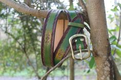 """1""""1/2 Hand Tooled leather belt/ Green Belt Tooled Leather, Leather Tooling, Green Belt, How To Measure Yourself, See Images, Brass Buckle, Green Leather, Hand Tools, Solid Brass"""