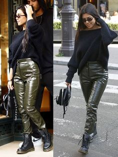Kourtney Kardashian wearing glossy pants and Dr. Martens boots in Paris, France, on September 26, 2017.