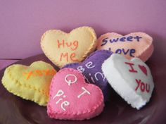 Valentines day Heart pillow: Can use as a family secret service project for the month of Feb. to leave behind with the person who received the good deed.  Then they get to pay it forward.
