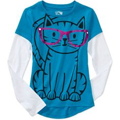 Girls Cat 2fer Graphic Tee