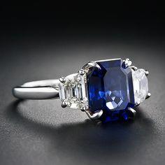 3.90 Carat Sapphire and Diamond Ring emerald cut sapphire, trapeze cut diamonds