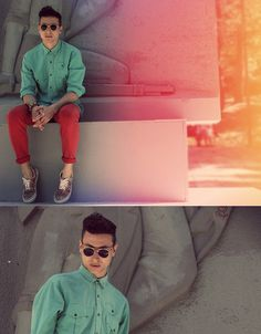 Cold mint and hot red (by Vladan Gavric) http://lookbook.nu/look/3400553-Cold-mint-and-hot-red