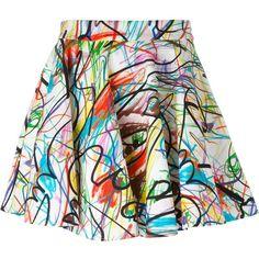 Jeremy Scott scribbled full skirt (€180) ❤ liked on Polyvore featuring skirts, skater skirt, multicolor skirt, colorful skirts, circle skirts, skater skirts and multi color skirt