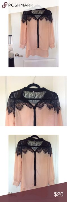 Pink and black lace collared top 100% Polyester. Size XS. Tops Button Down Shirts