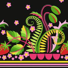 Strawberry Border, Strawberry, from the Early Bird collection for FreeSpirit.