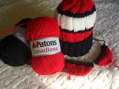 Hats from Grammy's Knits.  Beginning of toe-up sox