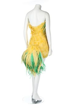 Jerry Hall's Antony Price 'chicken' dress, labelled, the short dress of yellow and green plumes with adjustable tail section, Kerry Taylor Auctions Antony Price, Jerry Hall, Fancy Costumes, Masquerade Ball, 1990s, Theater, Short Dresses, Auction, Chicken