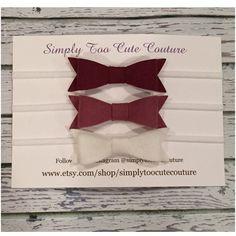 Burgundy Mulberry and White Felt Bow Nylon by SimplyTooCuteCouture