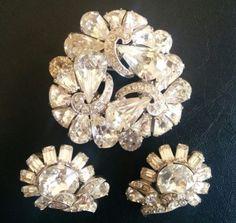 Signed-EISENBERG-Vintage-SET-Brooch-Pin-Earrings-Rhinestone-Wedding-WOW-4345