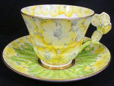 ROYAL PARAGON PRIMROSE CHINTZ CACTUS FLOWER HANDLE TEA CUP AND SAUCER #Flowerhandle #RoyalParagon on EBay for $581.00