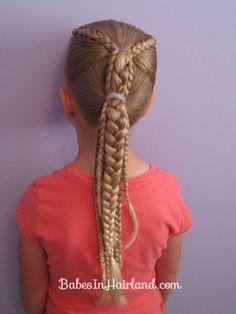 Ponytails & Braids from BabesInHairland.com   - a great style for a full day of play, sports or camping! #braids #ponytails #sportshair #hair #tutorial