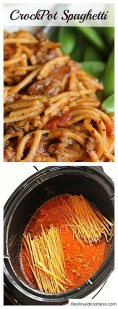 CrockPot Spaghetti - Life Should Cost Less - Pasta - Noodle Dish - Crockpot Recipes Crockpot Dishes, Crock Pot Slow Cooker, Crock Pot Cooking, Healthy Crockpot Recipes, Slow Cooker Recipes, Beef Recipes, Cooking Recipes, Crockpot Meals, Crockpot
