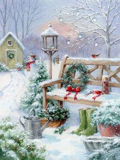 Christmas Scenery, Christmas Artwork, Noel Christmas, Christmas Paintings, Christmas Wallpaper, All Things Christmas, Christmas Crafts, Christmas Decorations, Winter Christmas Scenes