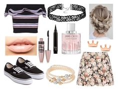 """""""#322"""" by glitterunicorns-are-awesome ❤ liked on Polyvore featuring Charlotte Russe, MSGM, Vans, MDMflow, sweet deluxe, Maybelline and Jimmy Choo"""