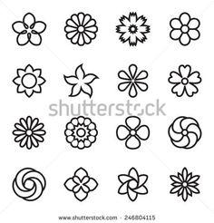 Flower icons. Vector illustration