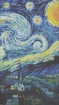 Vincent Van Gogh The Starry Night Wallpaper. Art Van, Van Gogh Art, Tumblr Wallpaper, Wallpaper Backgrounds, Phone Backgrounds, Summer Backgrounds, Galaxy Wallpaper, Iphone Wallpaper Art, World Wallpaper