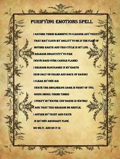 Purifying Emotions Spell.