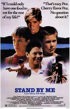 """A DAY in MOVIE HISTORY - Aug """"Stand By Me"""" film based on the novella by Stephen King, directed by Rob Reiner starring Wil Wheaton, River Phoenix, Corey Feldman, and Jerry O'Connell was released 80s Movies, Great Movies, Movies To Watch, 80s Movie Posters, Awesome Movies, Comedy Movies, Cult Movies, Corey Feldman, River Phoenix"""