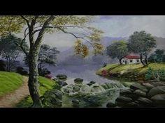 Como Pintar Bosque Niebla Atardecer 4/4 Camino Lago estanque - YouTube