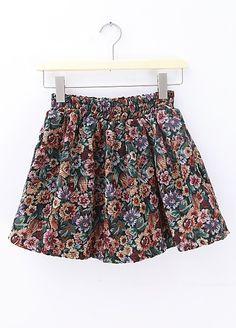 Yellow Elastic Waist Floral Skirt - Sheinside.com