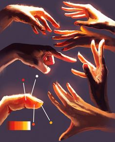 More Hands studies Digital painting light glow Digital Painting Tutorials, Digital Art Tutorial, Art Tutorials, Digital Paintings, Paintings Of Hands, Drawing Tutorials, Hand Reference, Art Reference Poses, Drawing Techniques