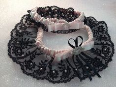 The Gigi Black/Pink Garter Set by Garnize on Etsy, $85.00. Free Shipping. Wedding Garters of distinction.