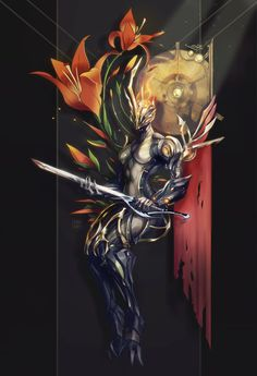 Ember Prime with red/orange lilies for Megan (... - Steelsuit