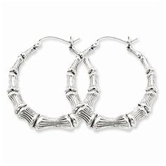 Sterling Silver Bamboo Hoop Earrings 35mm Approximate Length -- Continue to the product at the image link.(This is an Amazon affiliate link and I receive a commission for the sales)
