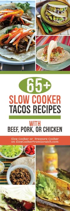 there are enough taco variations here to have you celebrating Taco Tuesdays for more than a year, and all made in the slow cooker! [found on Slow Cooker or Pressure Cooker] Best Crockpot Recipes, Healthy Soup Recipes, Pork Recipes, Slow Cooker Recipes, Mexican Food Recipes, Mexican Dishes, Sandwich Recipes, Turkey Recipes, Delicious Recipes