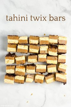 cookie jar: tahini twix bars | Sheri Silver - living a well-tended life... at any age Sesame Seeds Recipes, Homemade Twix Bars, Homemade Tahini, Shortbread Crust, Cookie Jars, Melting Chocolate, Vegetarian Recipes, Healthy Recipes, A Food