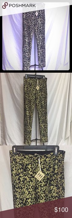 NWT Haute Hippie gold & black metallic lace pants! NWT Haute Hippie gold and black metallic lace pants!😍 skinny fit with zip closure. The gold is shiny but not overwhelming and the lace detail over is to die for. Size XS but will probably sit a small too. I love these but they are too small and I'm devastated please someone help these pants to their full potential!!! Check out my Gucci or Michael Kors gold bags to go with them! Haute Hippie Pants