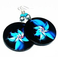 Blue flower blue graphics earrings decoupage with by SzaraLotka, $12.00