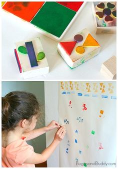 Easy Art for Kids: Make a Mural Using Homemade Foam Stamps :: diy stamps :: printmaking for kids :: kids art
