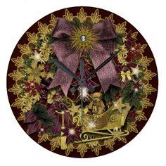 """Wanduhr """"Victorian Christmas"""" , weihnachtliches Motiv, Advents-Türkranz. Grafik und Entwurf bei ArianneGrafX©2012"""