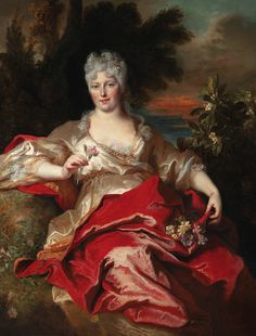 "Marie-Thérèse Blonel d'Haraucourt, duchesse de Phalaris (in old age called ""Mère Jezabel"" due to her overuse of cosmetics), as Flora, circa 1720. 