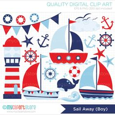Sailing / Sail Away Boy Clip Art / Digital by MyClipArtStore, $3.99 Nautical Clipart, Nautical Theme, Seaside Theme, Nautical Cards, Lighthouse, Girl Clipart, Vector Clipart, Vector Graphics, Digital Scrapbook