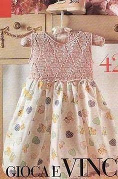 crochet and fabric dress & Crochet Yoke, Crochet Fabric, Crochet Girls, Crochet Baby Clothes, Crochet For Kids, Blog Crochet, Crochet Chart, Crochet Granny, Toddler Dress