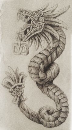 Quetzalcoatl Tattoo by cgbandit on DeviantArt Tattoo Drawings, Body Art Tattoos, Sleeve Tattoos, Art Drawings, Chicano Tattoos, Tattoo Sketches, Quetzalcoatl Tattoo, Tattoo Snake, Aztec Symbols