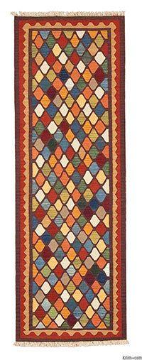 Nueva alfombra corredor kilim turco