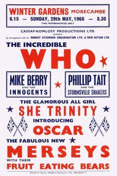 """ The Who Hits Morecambe Winter Gardens 29 May 1966 Band Posters, Music Posters, Theatre Posters, The Who Band, Color Television, John Entwistle, Concert Flyer, Morecambe, Winter Garden"