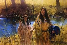 Cattail Oil on Canvas by Richard D. Thomas kp
