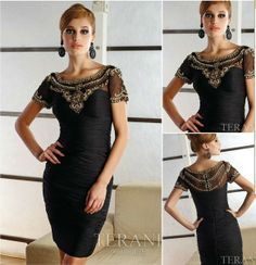 Elegant tea length mother of the bride dresses with sleeve  $140.00