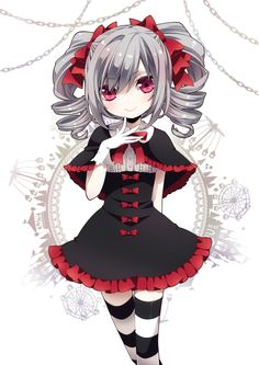 Old school goth. also because its an anime girl and that's the style i want to use for my final FMP idea. Anime Chibi, Kawaii Anime, Manga Anime, Art Kawaii, Kawaii Girl, Manga Art, Anime Art, Gothic Anime, Gothic Art