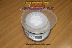 Base tarta Mari - Mari   Ingredientes:   17 gr levadura Royal = 1 sobre