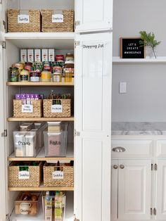 How to Organize a Cabinet Style Pantry - Style + Dwell. Even small pantries can be well organized. See how we transformed this cabinet style pantry into organized perfection. Small Pantry Cabinet, Small Pantry Organization, Kitchen Pantry Design, Kitchen Pantry Cabinets, Organized Pantry, Pantry Shelving, Pantry Ideas, Kitchen Designs, Organization Ideas