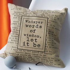 personalised lyrics cushion cover by vintage designs reborn   notonthehighstreet.com    LOVE this! Great idea for anniversary gifts/special song