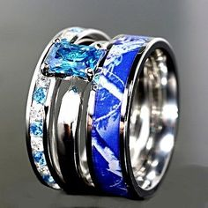3pc Blue Camo Stainless Steel Band 925 Sterling Silver Sapphire Wedding  Ring Set